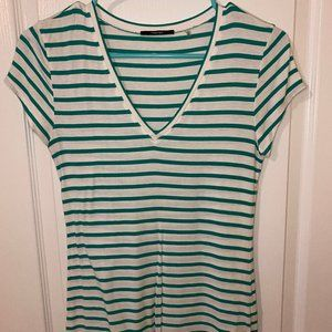 Teal Striped V-neck Tee